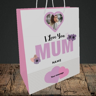 Picture of I Love You Mum, Mother's Day Design, Medium Portrait Gift Bag