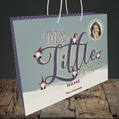 Picture of Merry Little Christmas, Christmas Design, Medium Landscape Gift Bag