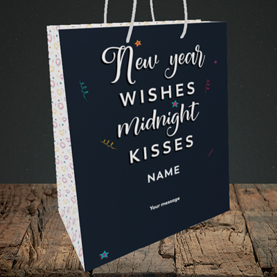 Picture of Midnight Kisses(Without Photo), New Year Design, Medium Portrait Gift Bag