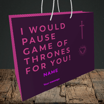 Picture of Game Of Thrones, (Without Photo) Valentine's Design, Medium Landscape Gift Bag