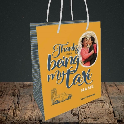 Picture of Taxi, Mother's Day Design, Small Portrait Gift Bag