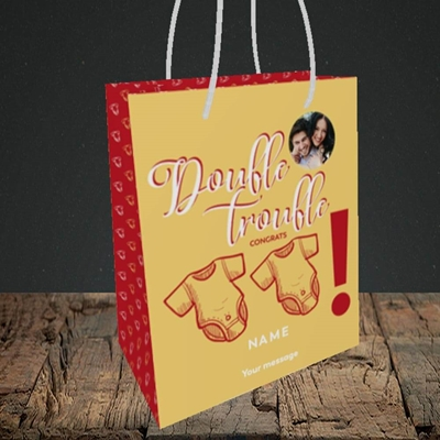 Picture of Double Trouble, New Baby Design, Small portrait Gift Bag