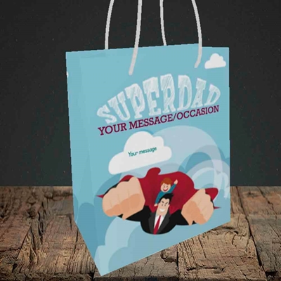 Picture of Superdad,(Without Photo) Father's Day Design, Small Portrait Gift Bag