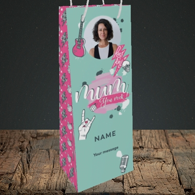 Picture of Mum You Rock, Mother's Day Design, Bottle Bag